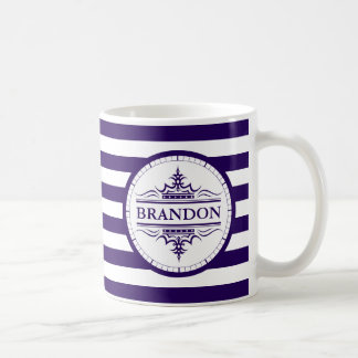 Monogram Nautical Classic Navy Blue Striped Mug