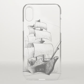 Monogram. Nautical. Hand Drawn Ship. iPhone X Case