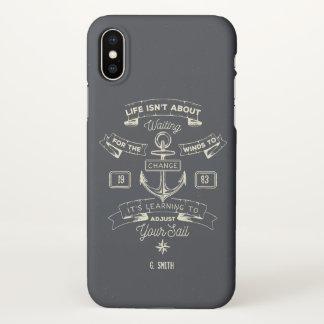 Monogram. Nautical. Life Quote. iPhone X Case