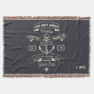Monogram. Nautical. Life Quote. Throw Blanket
