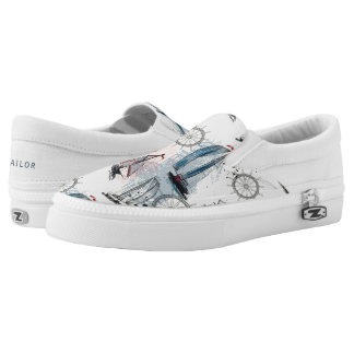 Monogram. Nautical Pattern. Slip-On Shoes