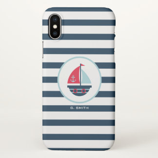 Monogram. Nautical Stripes. Sailing Ship. iPhone X Case