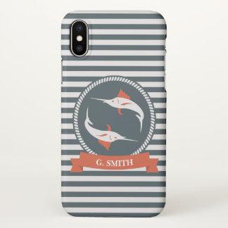 Monogram. Nautical. Swordfish. iPhone X Case