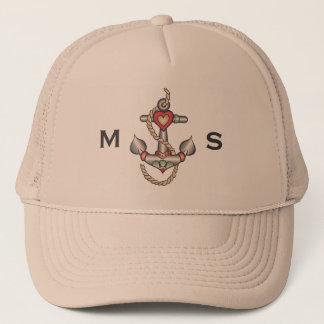 Monogram. Nautical. Vintage Anchor Tattoo. Trucker Hat