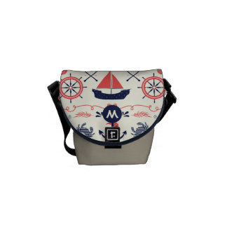 Monogram Navy and Coral Nautical Anchor Pattern Courier Bags