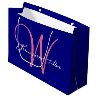 Monogram Navy Blue Azalea Pink Wedding Large Gift Bag