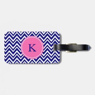 Monogram Navy Blue Chevron Pattern with Hot Pink Luggage Tag