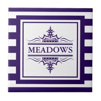 Monogram Navy Blue Elegant Nautical Ceramic Tile