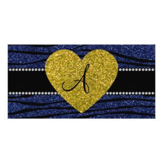 Monogram navy blue glitter zebra stripes heart photo card template