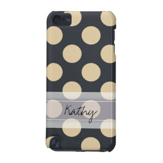 Monogram Navy Blue Ivory Chic Polka Dot Pattern iPod Touch 5G Covers