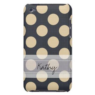 Monogram Navy Blue Ivory Chic Polka Dot Pattern Case-Mate iPod Touch Case