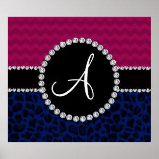 Monogram navy blue leopard plum chevrons posters