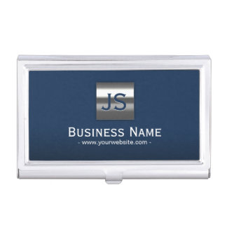 Monogram Navy Blue Modern Metal Frame Professional Business Card Holder
