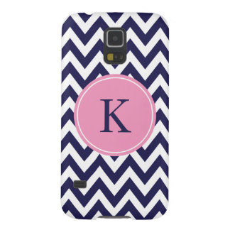 Monogram & Navy Blue Pink Zigzag Stripes Galaxy S5 Case