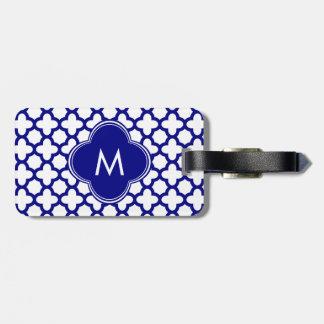 Monogram Navy Blue Quatrefoil Pattern Bag Tag
