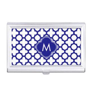Monogram Navy Blue Quatrefoil Pattern Business Card Holder