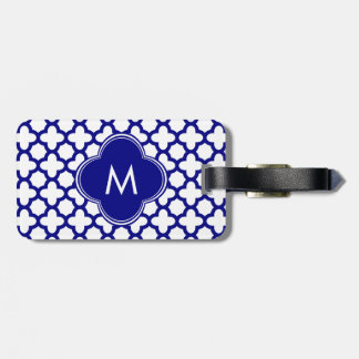 Monogram Navy Blue Quatrefoil Pattern Luggage Tag