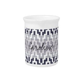 Monogram Navy Blue White Ikat Chevron Geo Pattern Drink Pitcher