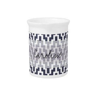 Monogram Navy Blue White Ikat Chevron Geo Pattern Pitcher