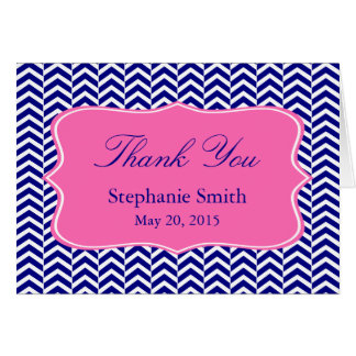Monogram Navy Blue with Hot Pink Chevron Bridal Card