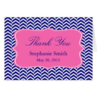 Monogram Navy Blue with Hot Pink Chevron Bridal Card