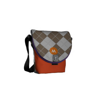 Monogram Navy Gray and Orange Argyle Pattern Courier Bag