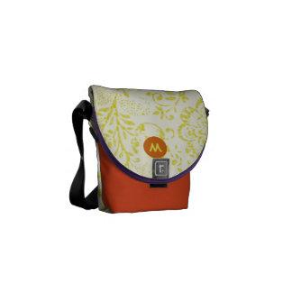 Monogram Navy Lime Modern Vintage Floral Pattern Courier Bag