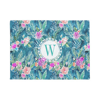 Monogram NAVY TROPICAL PARADISE Hawaiian Hibiscus Doormat