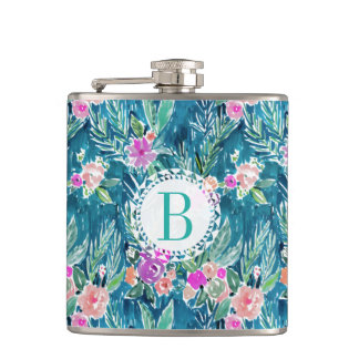 Monogram NAVY TROPICAL PARADISE Hawaiian Hibiscus Hip Flask