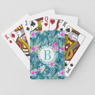 Monogram NAVY TROPICAL PARADISE Hawaiian Hibiscus Playing Cards