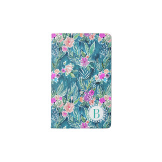 Monogram NAVY TROPICAL PARADISE Hawaiian Hibiscus Pocket Moleskine Notebook