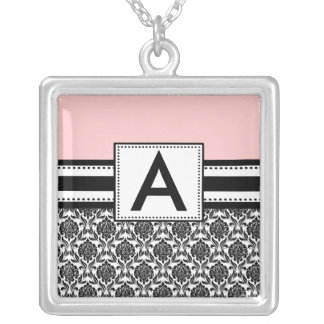 Monogram Necklace Black Pink Damask  Pendant