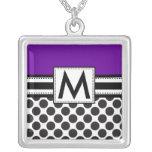 Monogram Necklace Black Polka Dots Purple Pendant