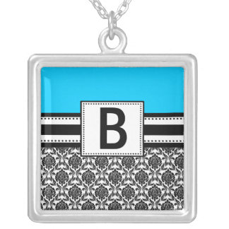 Monogram Necklace Black Turquoise Damask  Pendant