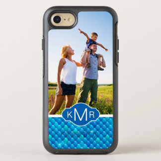 Monogram | Neon Blue Fish Scales OtterBox Symmetry iPhone 8/7 Case