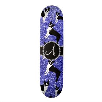 Monogram neon blue glitter boston terriers skateboard decks
