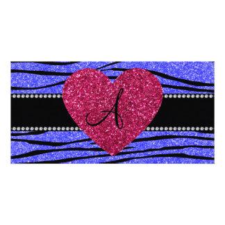 Monogram neon blue glitter zebra stripes heart photo cards