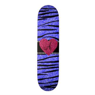 Monogram neon blue glitter zebra stripes heart custom skate board