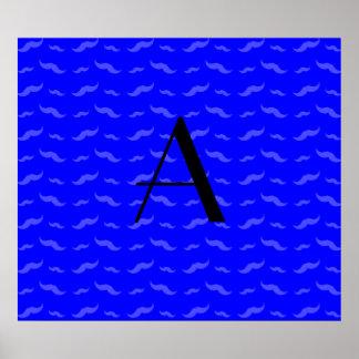 Monogram neon blue mustache pattern poster