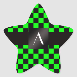 Monogram neon green and black checkers star sticker