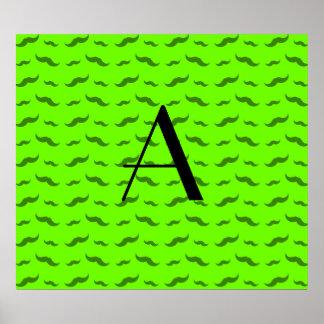 Monogram neon green mustache pattern poster