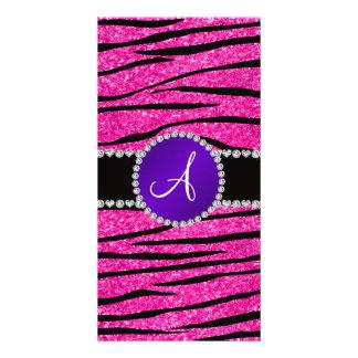 Monogram neon hot pink glitter zebra purple circle customized photo card