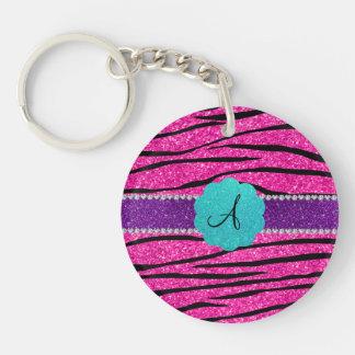 Monogram neon hot pink glitter zebra scallop key chains