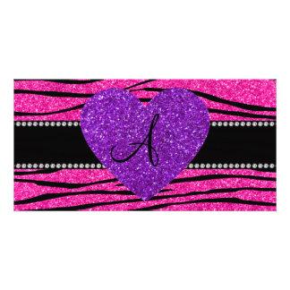 Monogram neon hot pink glitter zebra stripes pink customised photo card
