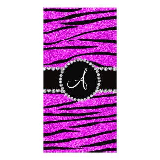 Monogram neon pink glitter zebra stripes circle photo card template