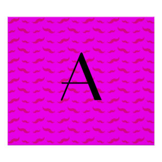 Monogram neon pink mustache pattern poster