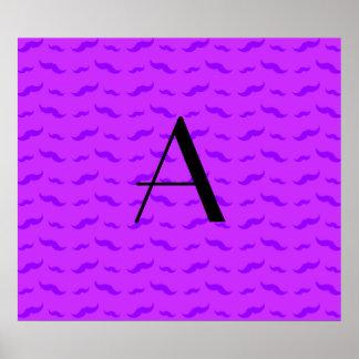 Monogram neon purple mustache pattern poster