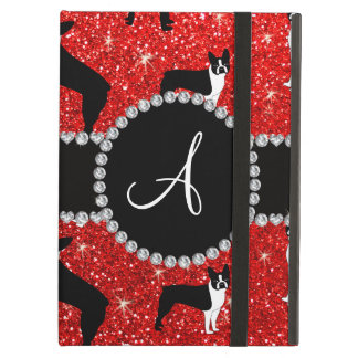 Monogram neon red glitter boston terriers iPad air case