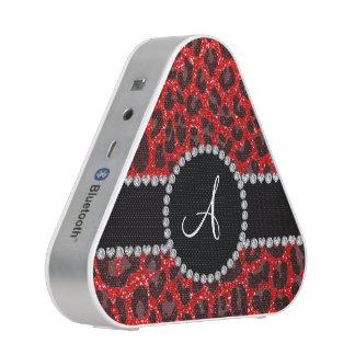 Monogram neon red glitter leopard