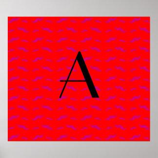 Monogram neon red mustache pattern poster